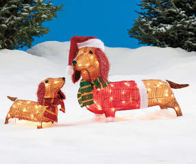 Winter Wonder Lane Light Up Dachshund Family 2 Piece Set