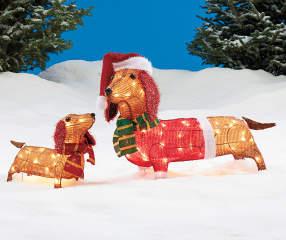 Winter Wonder Lane Light Up Dachshund Family 2 Piece Set
