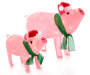 Light Up Holiday Pigs 2 Piece Set Side by Side Lit Up Silo Image