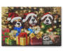 Light Up Singing Christmas Dogs Musical Canvas 18 Inches by 12 Inches Front View Silo Image