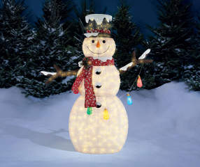 Winter Wonder Lane Light Up Snowman With Christmas Lights