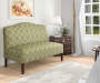 Lime Quatrefoil Upholstered Settee Bench lifestyle