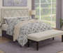 Linen X Pattern Nailhead King Headboard bedroom setting