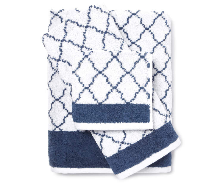 Living colors blue white lattice towels big lots for How to keep white towels white