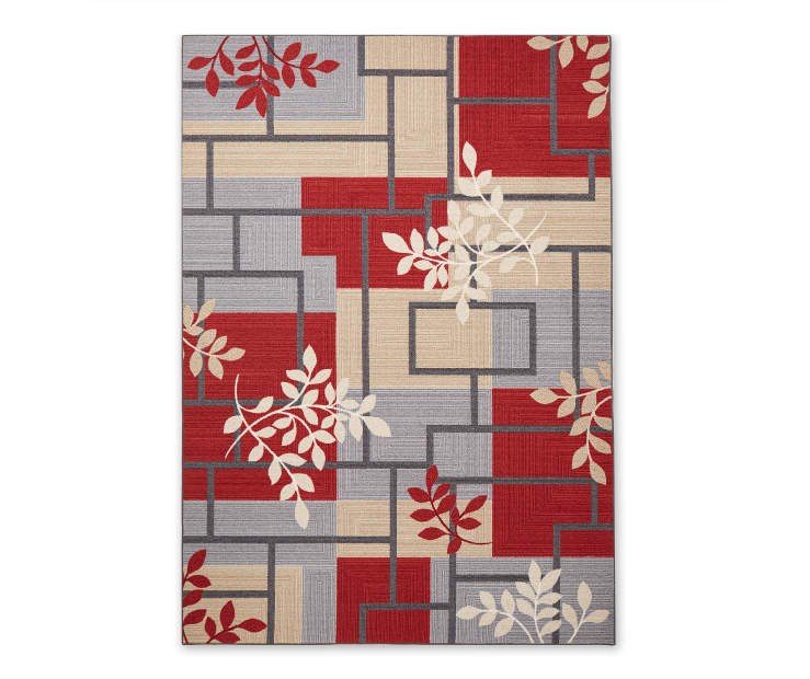 Living Colors Maxine Red Gray Geometric Vine Rugs