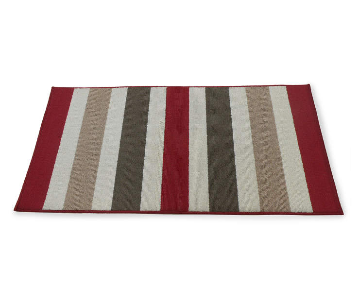Living colors roma red cream striped rugs big lots for Cream and red rugs