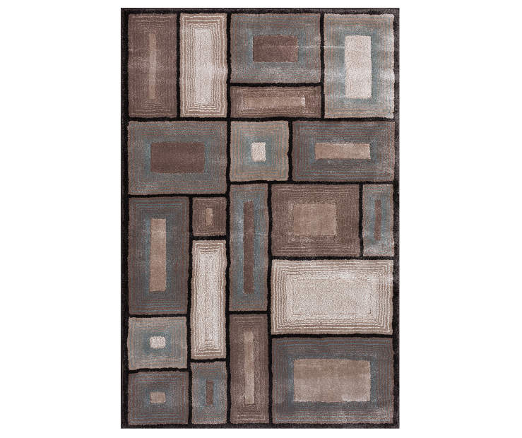 Living colors tan turquoise geometric rugs big lots - Brown and turquoise living room rugs ...
