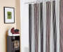 Living Colors Aldis Stripe Microfiber Shower Curtain on Rod in Bathroom Room View