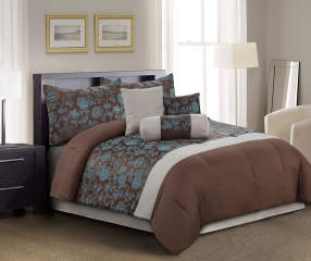 Living colors annalise jacquard chocolate and turquoise 7 for Bedroom furniture 70123