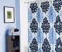 Living Colors Blue Leora Microfiber Shower Curtain on Rod in Bathroom Room View