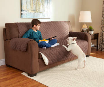 Chocolate Amp Tan Reversible Sofa Protector Big Lots