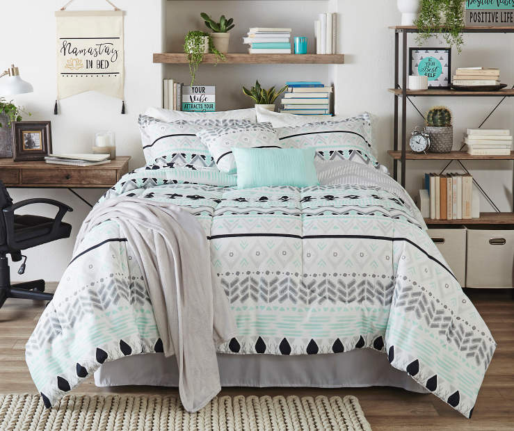 Bedroom Sets Full Size Mint Black And White Bedroom Ideas Lighting For Small Bedroom Bedroom With Black Accent Wall: Living Colors Liah Mint, Gray & Black 12-Piece Comforter