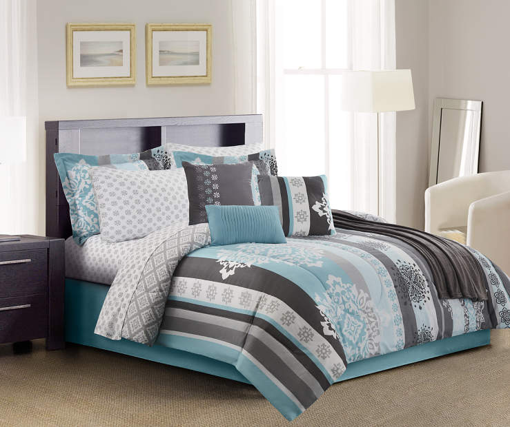 Living Colors Medallion Stripe 12 Piece Comforter Sets