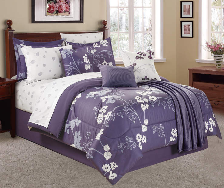 Living Colors Milly Purple Floral 12 Piece Comforter Sets