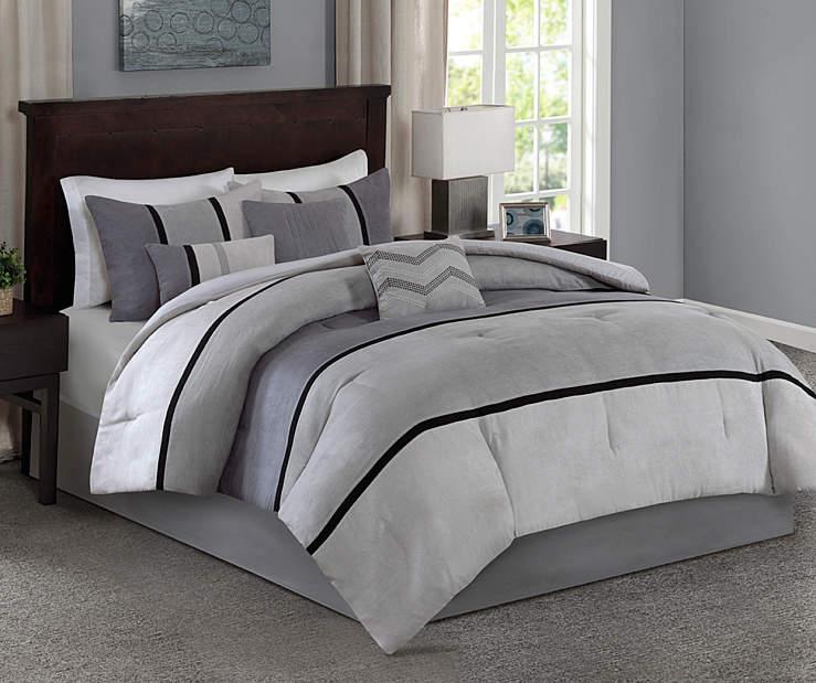 Living colors palisades gray black 7 piece comforter - Gray and black comforter set ...