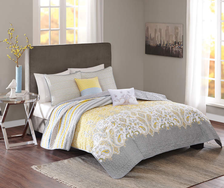 Living Colors Yellow & Gray 5-Piece Reversible Quilt Sets