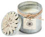 Lotus Cypress Tin Candle with Flower silo front lid off