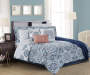 Lucie Navy, Aqua & Coral 12-Piece Queen Comforter Set