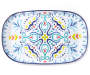 MIXED MELAMINE PATTERNED INDIGO MEDALLION SERVING TRAY