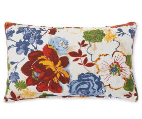 Margaux Blue Amp Red Floral Outdoor Lumbar Throw Pillow 12