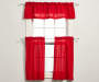 Maria Red Tier and Valance 3 Piece Set on Window Room View