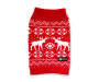 Medium Red Moose Pet Sweater Overhead Shot Silo Image