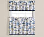 Meridian Blue and White Tier and Valance 3 Piece Set On Window Silo Image