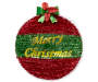 Merry Christmas Tinsel Ornament Wall Decor Overhead Shot Silo Image