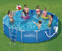 Metal Frame Pool 14 Feet by 36 Inches Outdoor Setting with Models Lifestyle Image