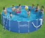 Metal Frame Pool 17 Feet by 52 Inches Outdoor Setting with Models Lifestyle Image