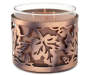 Metal Leaf Candle Sleeve with 3-Wick Candle Silo