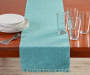 Mineral Blue Ribbed Table Runner 13 Inches by 72 Inches with Decor on Table Lifestyle Image