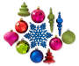 Multi Color Jewel Shatterproof Ornaments 40 Pack Variety Showing Out of Package Silo Image