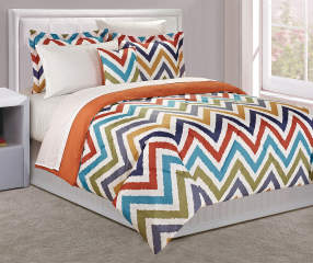 Just Home Multi Color Chevron Queen 8 Piece Comforter Set