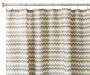 Multicolor Chevron Hotel Luxury Shower Curtain on Curtain Rod