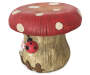 Mushroom Garden Stool  Top Down View with Ladybug and Fence Silo Image
