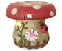 Mushroom Garden Stool Front View with Flower Ladybug and Fence Silo Image