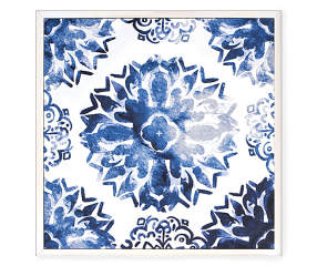 Indigo Floral Medallion Canvas Framed Wall Art Big Lots