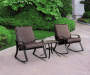 Navona Brown 3 Piece Cushion Rocker and Table Patio Set lifestyle view