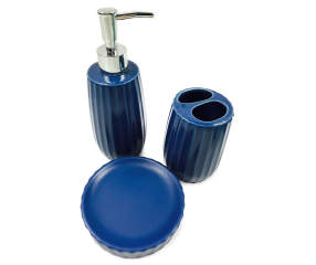 Just home navy bath accessories 3 piece set big lots for Navy bathroom accessory sets