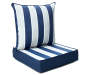 Navy Blue Cabana Stripe Deep Seat and Back Cushion Set silo angled