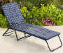 Navy Blue Print Padded Folding Lounger lifestyle