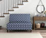 Navy Blue Quatrefoil Armless High Back Settee Bench lifestyle