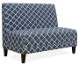 Navy Blue Quatrefoil Armless High Back Settee Bench silo angled