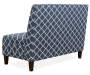 Navy Blue Quatrefoil Armless High Back Settee Bench silo back