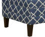 Navy Blue Quatrefoil Armless High Back Settee Bench silo front legs