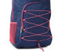 Navy Blue and Pink Bungee Backpack Detail View Silo Image