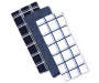 Navy Cotton Kitchen Towels 3 Pack Stacked and Fanned Silo Image
