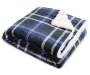 Navy Plaid Sherpa Throw Folded with Corner Back Silo Image