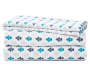 Navy Teal and Gray Microfiber 4-Piece Queen Sheet Set Stacked and Folded Silo